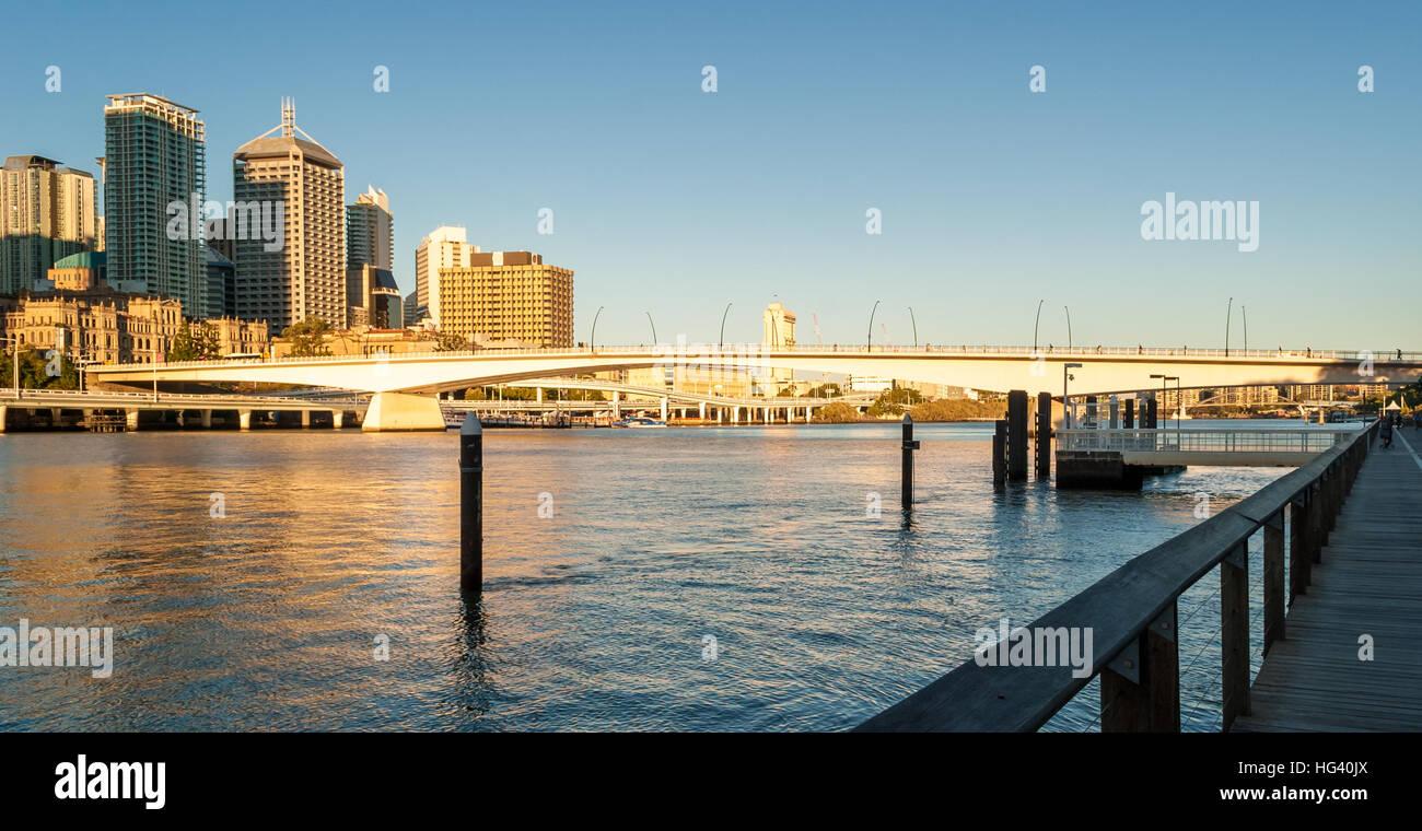 Brisbane, Queensland, skyline at sunset - Stock Image
