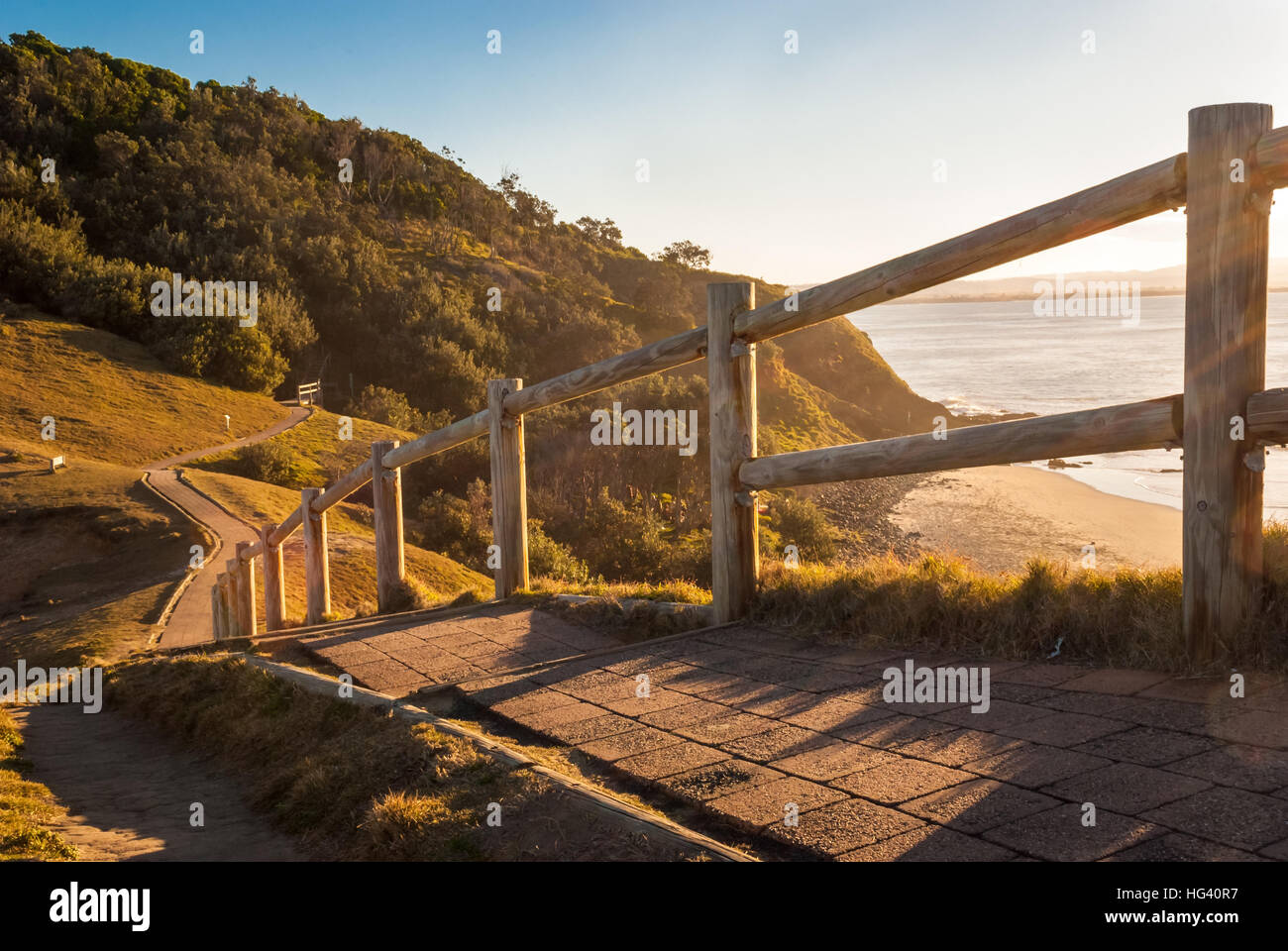 Byron Bay at sunset, Australia - Stock Image