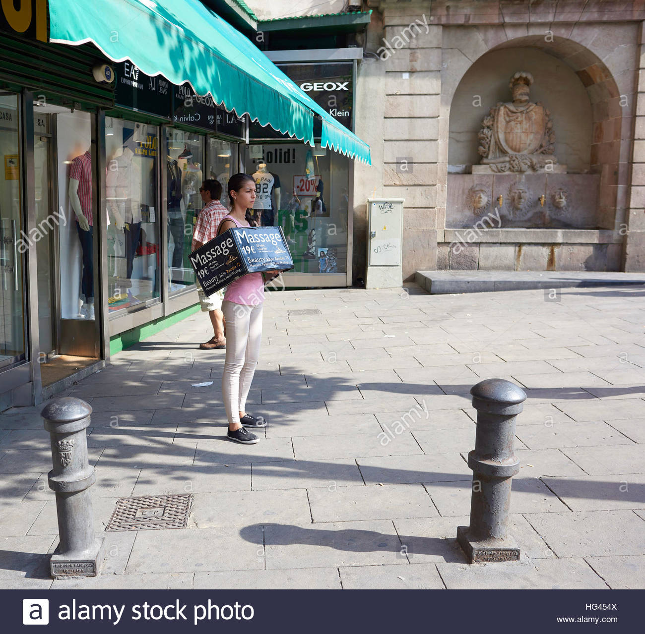 Girl Advertising Sell Walkway Walk Pavement Buy Stock Photos