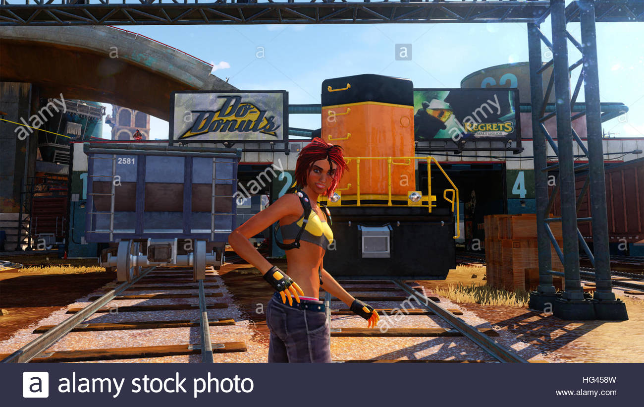 A screenshot from the Xbox One Exlusive Video Game Sunset Overdrive with a female character - Stock Image