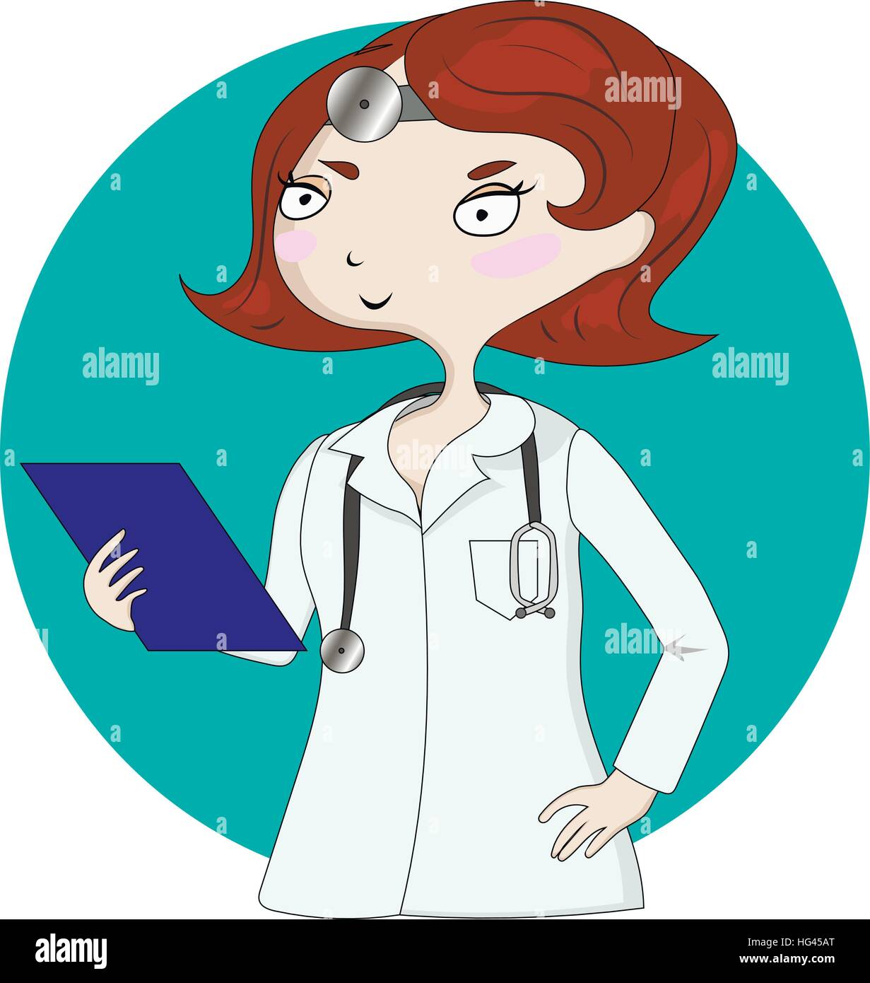 Young pretty female doctor Stock Vector