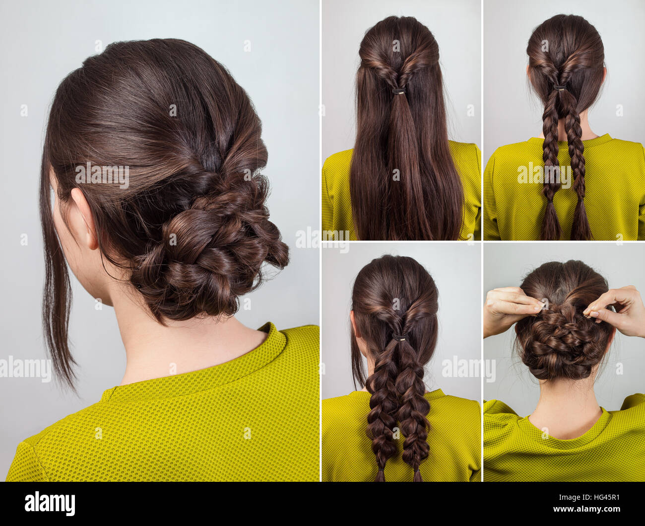 Simple Elegant Hairdo For Long And Medium Hair Tutorial Stock Photo