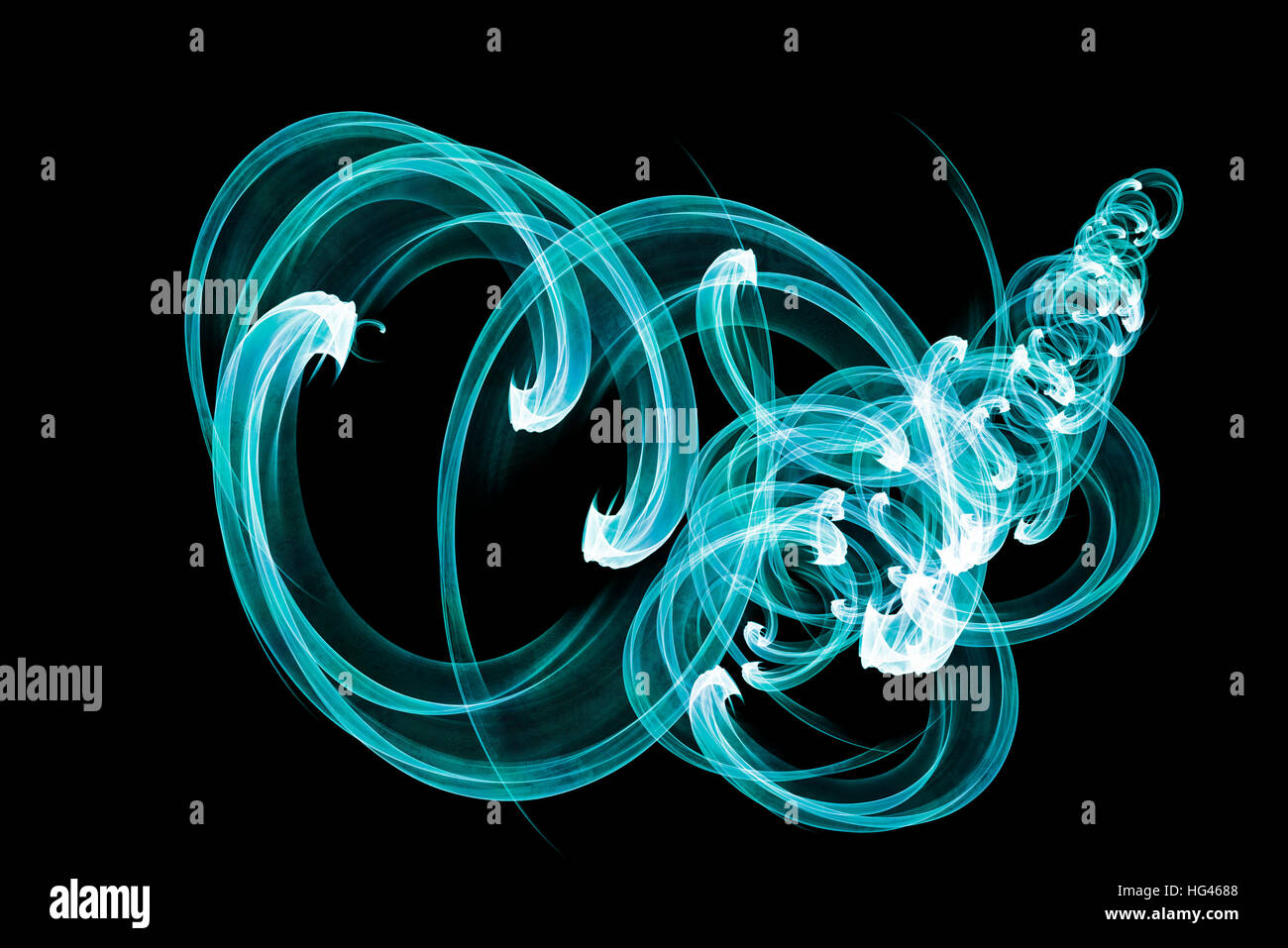 abstract blue lines on a black background, 3d illustration - Stock Image