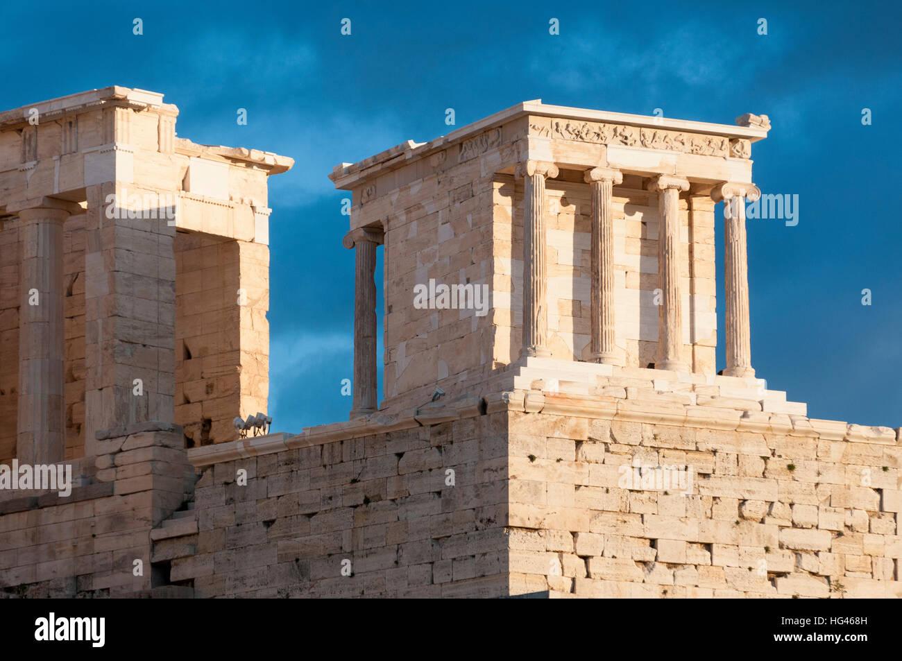 temple of athena nike, propylaea of acropolis - Stock Image