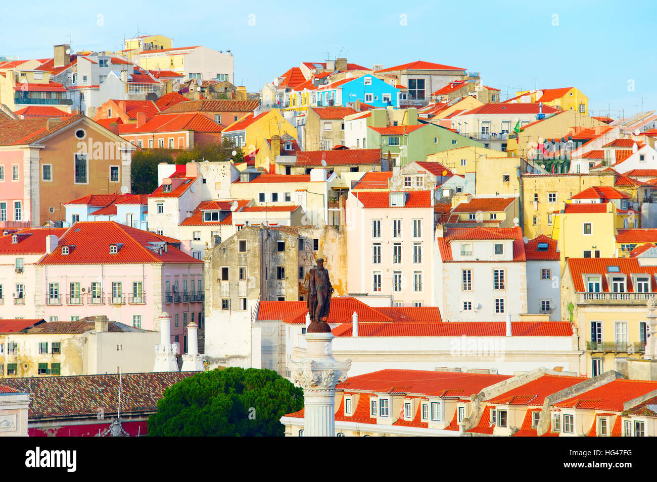 View of Old Town of Lisbon with monument of the king Pedro IV. Portugal - Stock Image