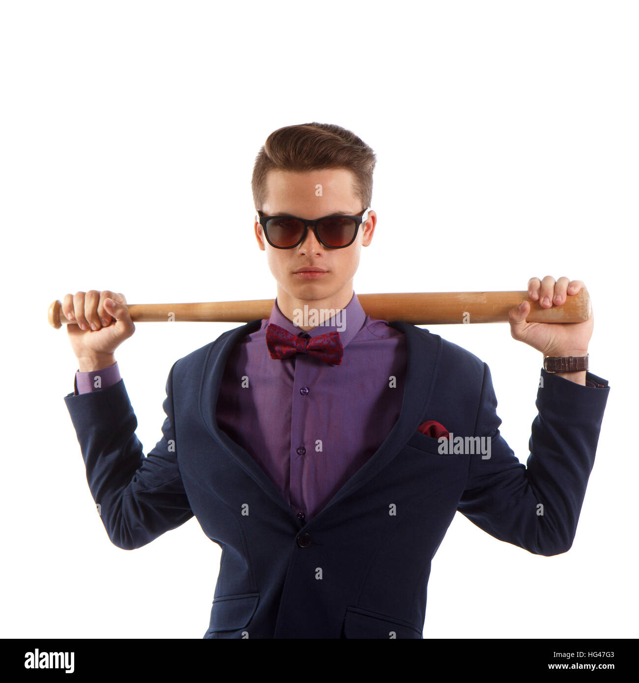 Formal teen with baseball bat - Stock Image