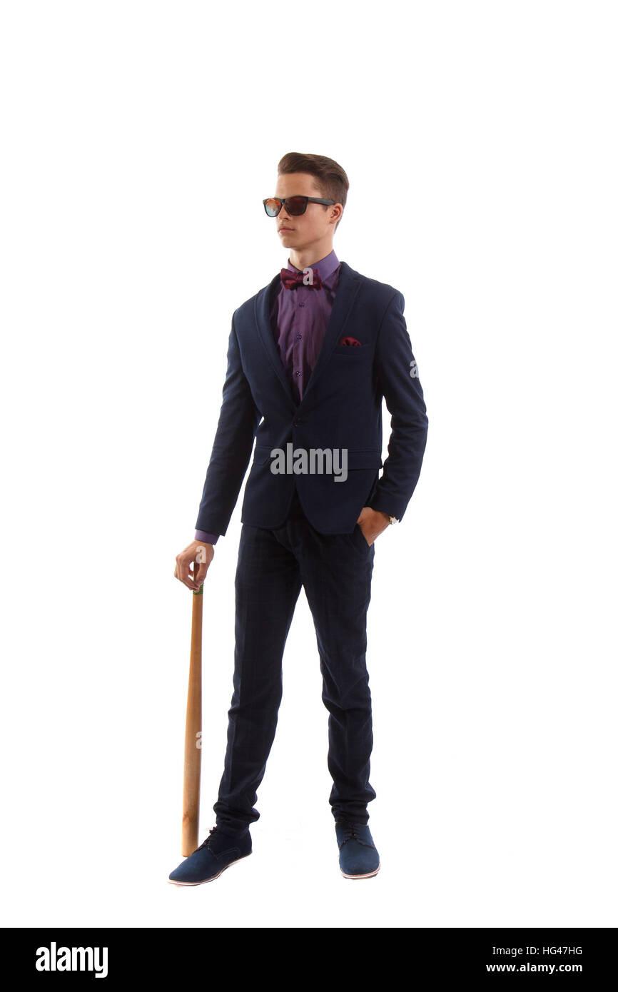 Formal criminal with a baseball bat - Stock Image