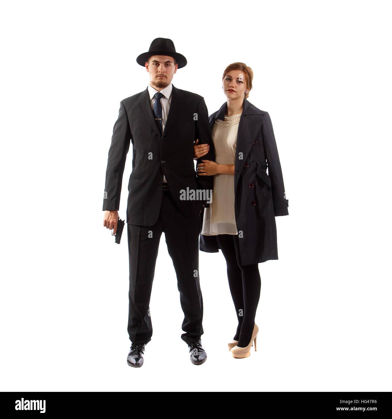 Young mafia couple - Stock Image
