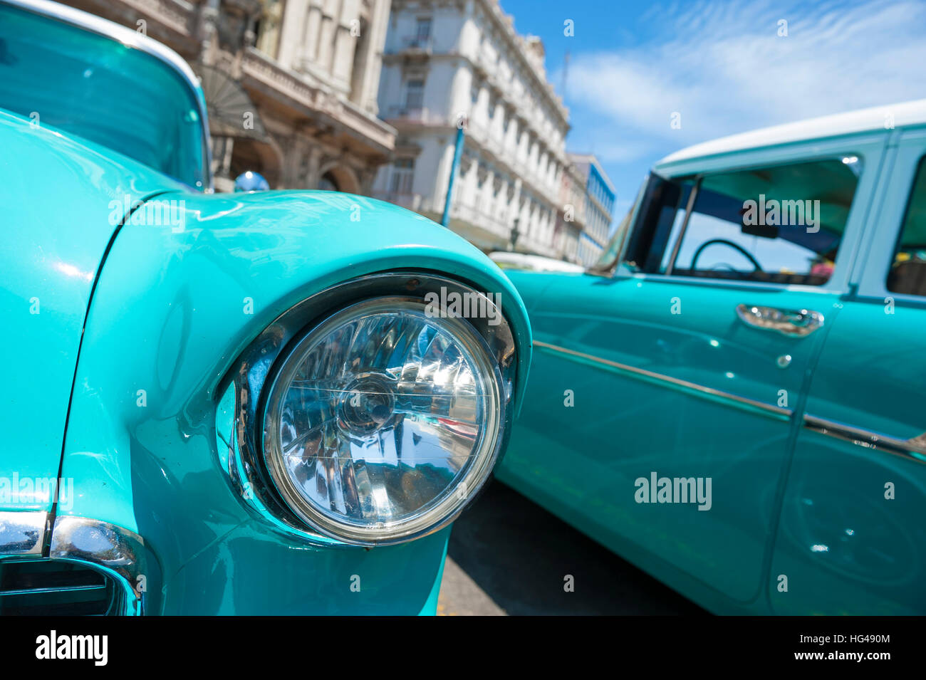 Close up of classic American cars parked in Havana, Cuba - Stock Image