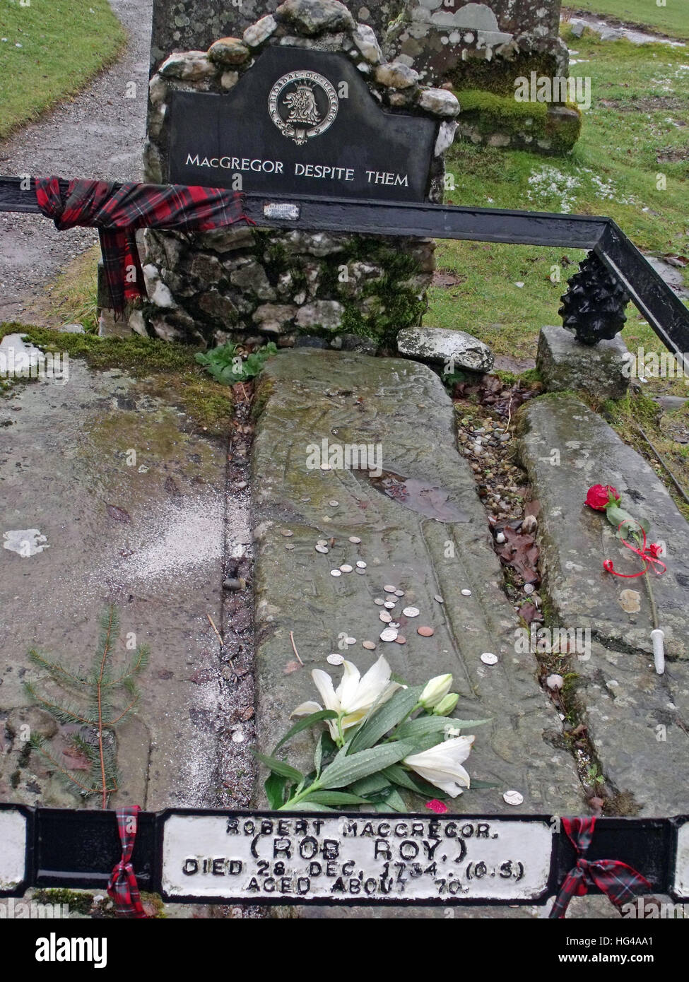 Rob Roys grave  Balquhidder, - Robert 'Rob' Roy MacGregor - Stock Image