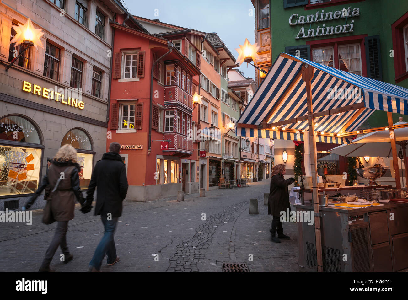 The Augustinergasse alley with Christmas decorations, Zurich, Switzerland. - Stock Image