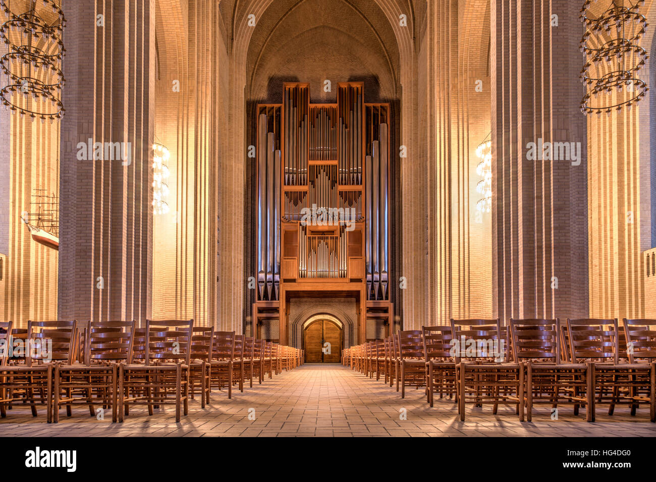Copenhagen, Denmark - January 03, 2017: Interior photography of Grundtvigs Church with its pipe organ - Stock Image