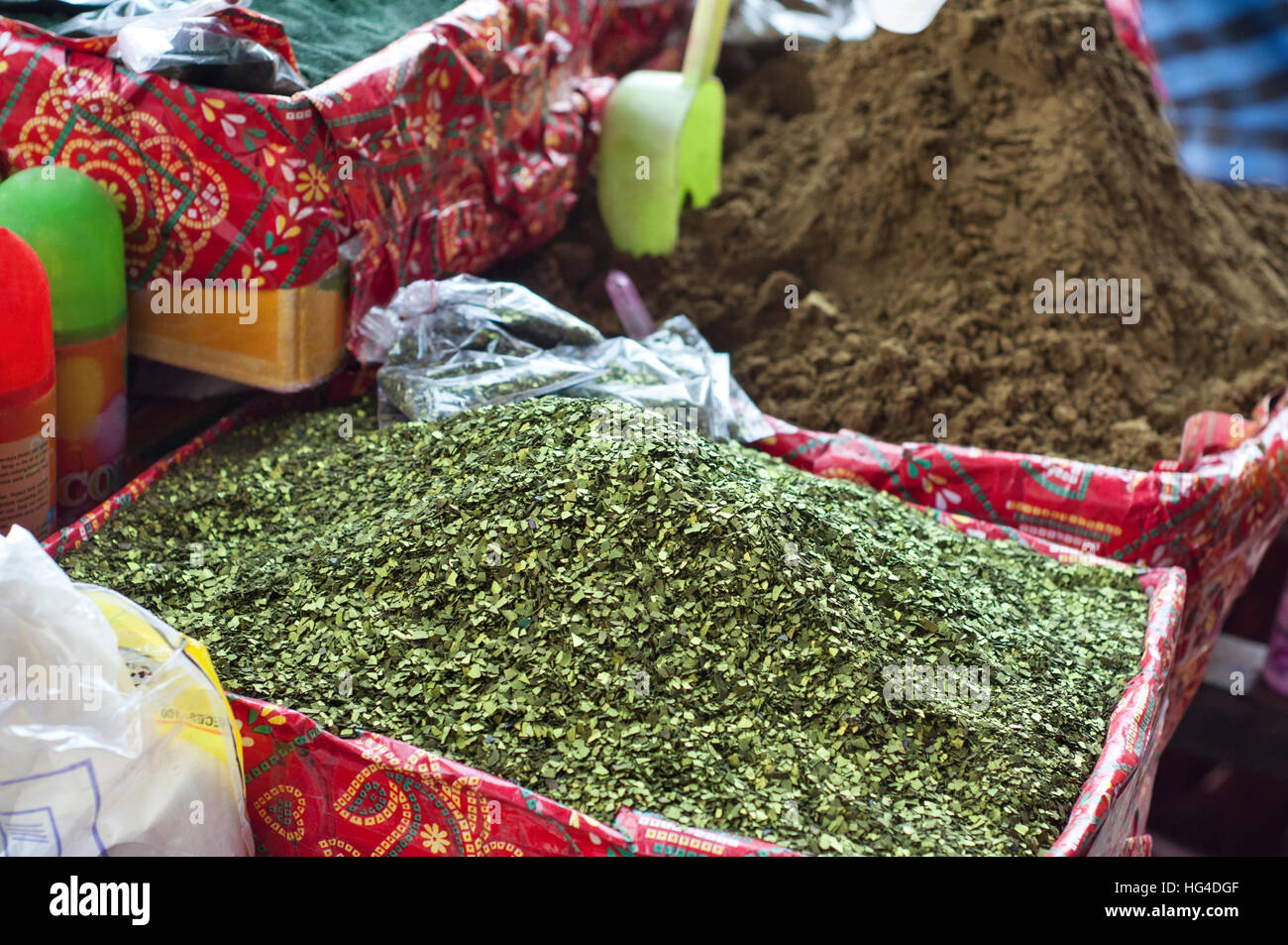 Henna Leaves And Powder For Sale At Market Stock Photo 130405535