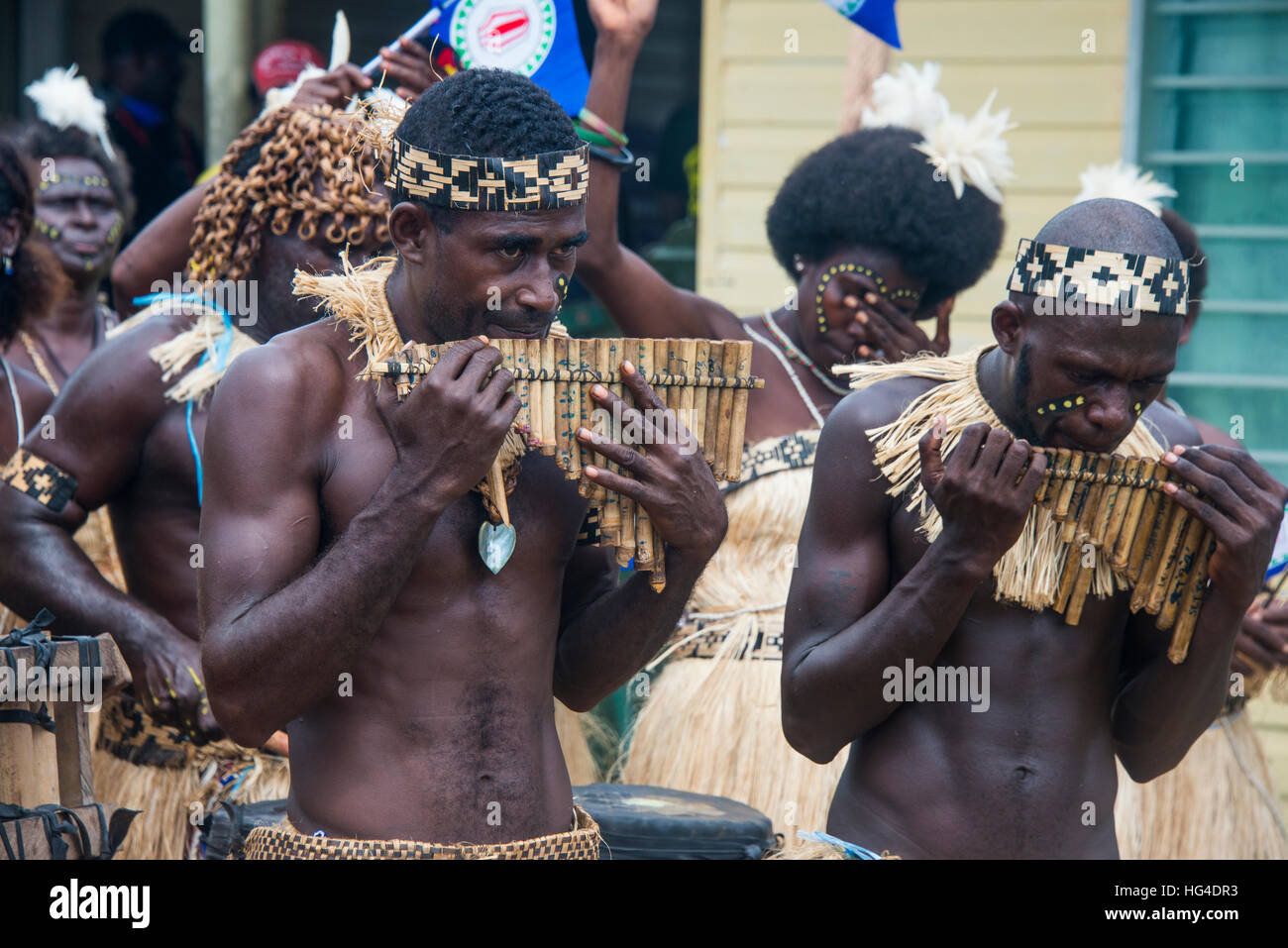 Bamboo band traditionally dressed, Buka, Bougainville, Papua New Guinea, Pacific - Stock Image