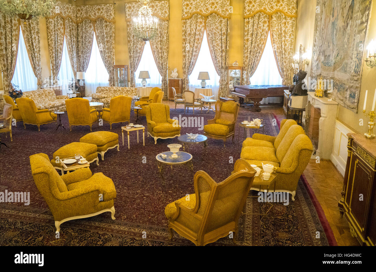 Sitting room, White Palace, the last Shah's Summer Palace, Sa'ad Abad, Tehran, Iran, Middle East - Stock Image