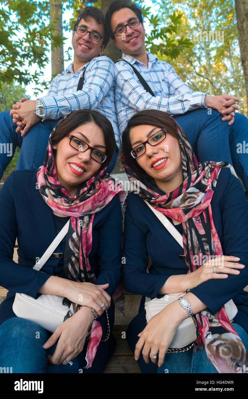 Married identical twins, White Palace, the last Shah's Summer Palace, Sa'ad Abad, Tehran, Iran, Middle East - Stock Image