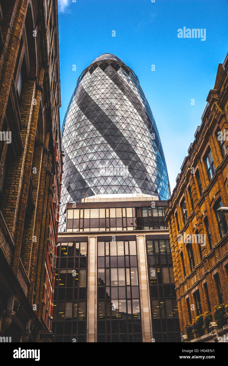 London UK, The Gherkin Tower buildings detail architecture skyline - Stock Image