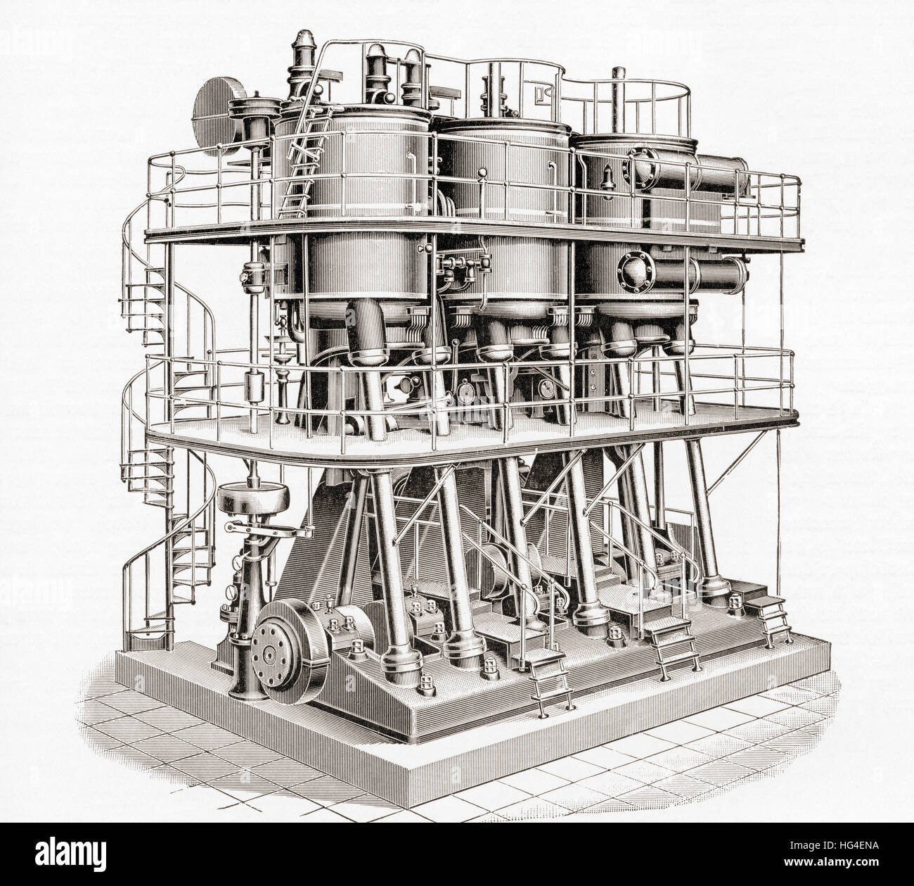 Early 20th century standing triple expansion compound steam engine.  From Meyers Lexicon, published 1924. - Stock Image