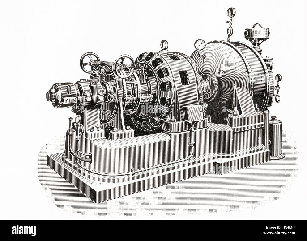 A 150 kilowatt Curtis turbine machine. From Meyers Lexicon, published 1924. Stock Photo