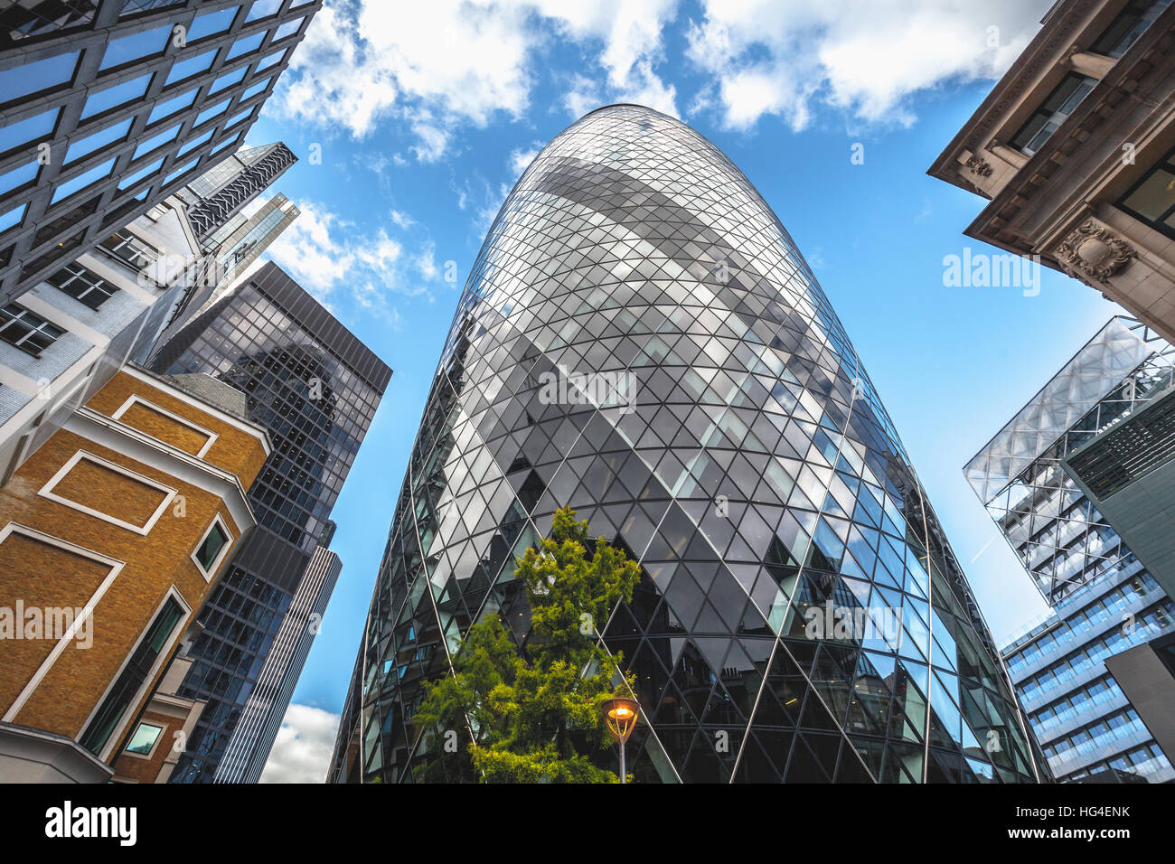 London The Gherkin Tower detail architecture skyline - Stock Image
