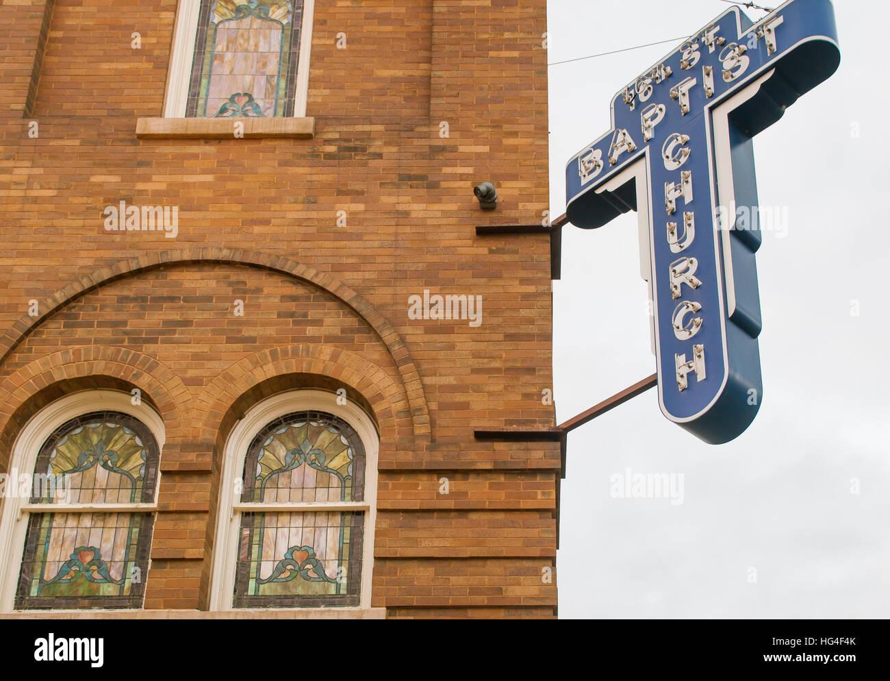 16th Street Baptist church sign in Birmingham Alabama USA Stock Photo