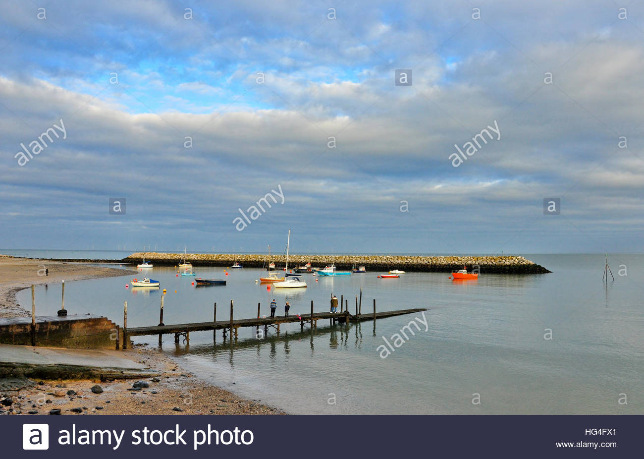 Boats in the harbour at Rhos on Sea, Colwyn Bay in Wales. Stock Photo