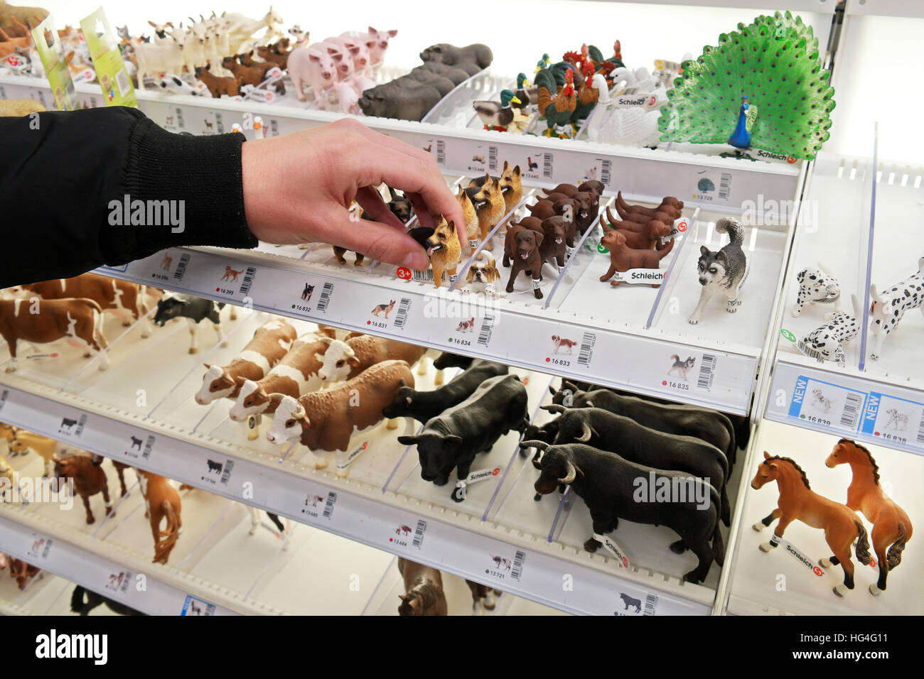 Schleich Animals Toys Plastic Figurines In A Display Stand In A