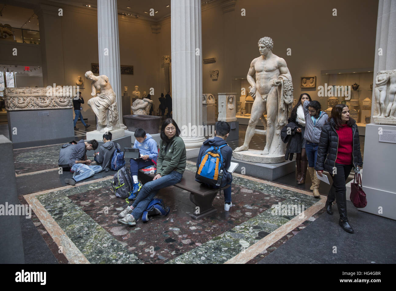 People wander in the Greek and Roman Gallery at the Metropolitan Museum of Art (MET) in New York City. (Youthful Stock Photo