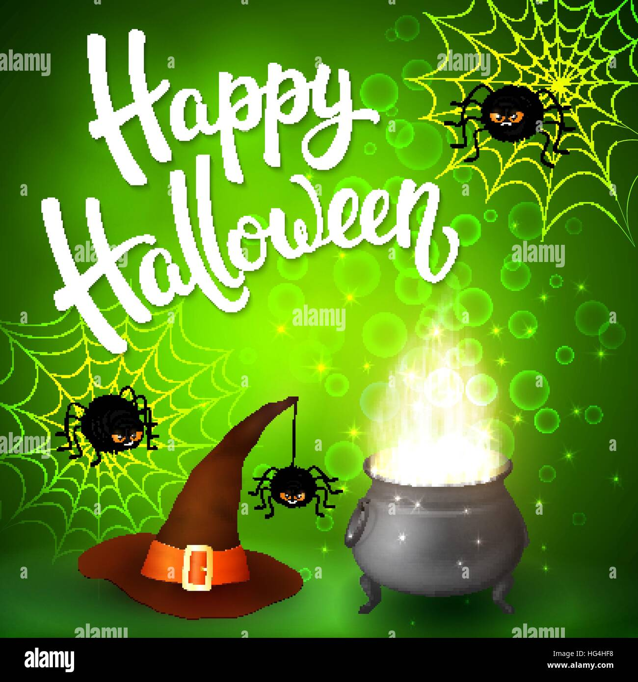 Halloween Greeting Card With Witch Cauldron Hat Angry Spiders Net Stock Vector Image Art Alamy