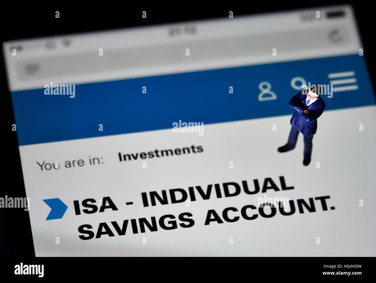 ISA individual savings account iphone screen page web page - Stock Image
