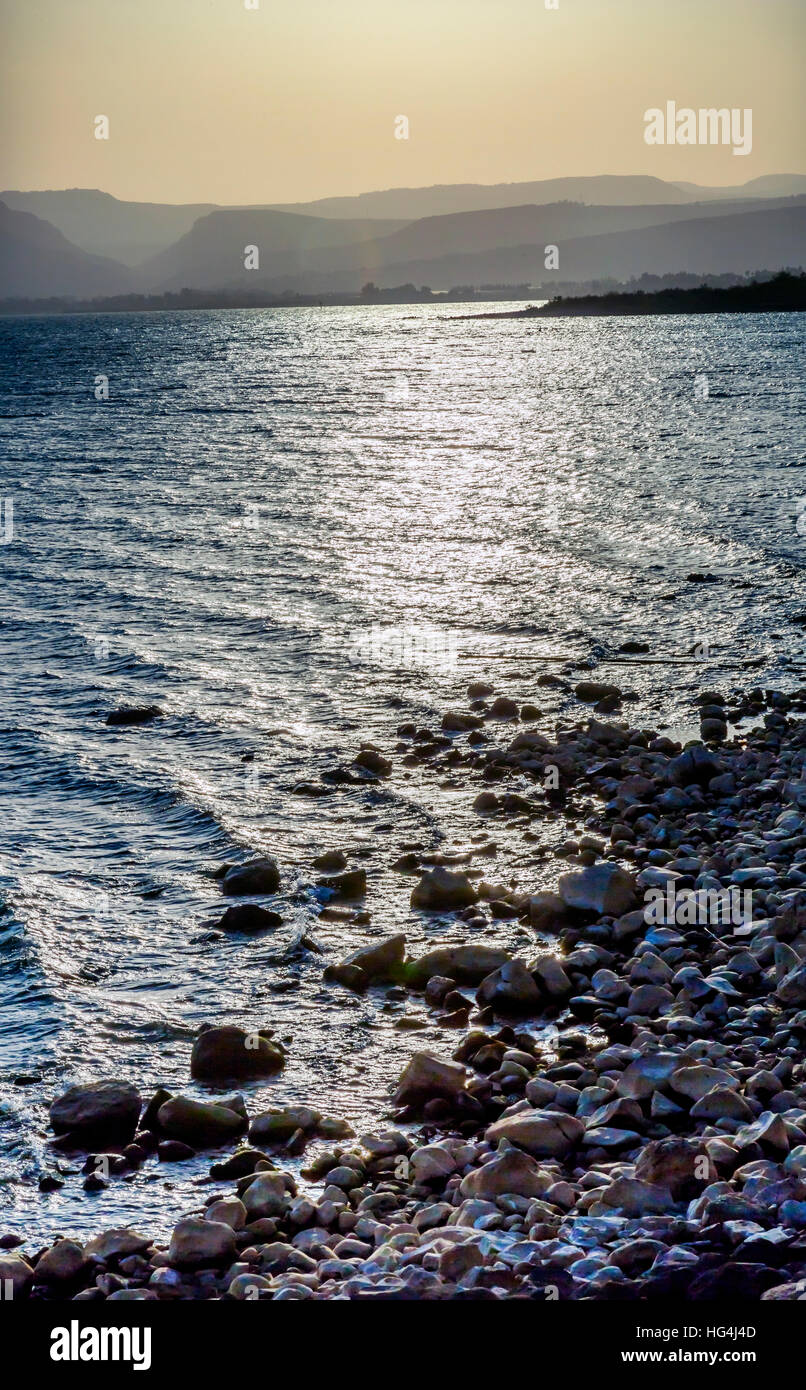 Sea of Galilee Capernaum from Saint Peter's House Israel Stock Photo