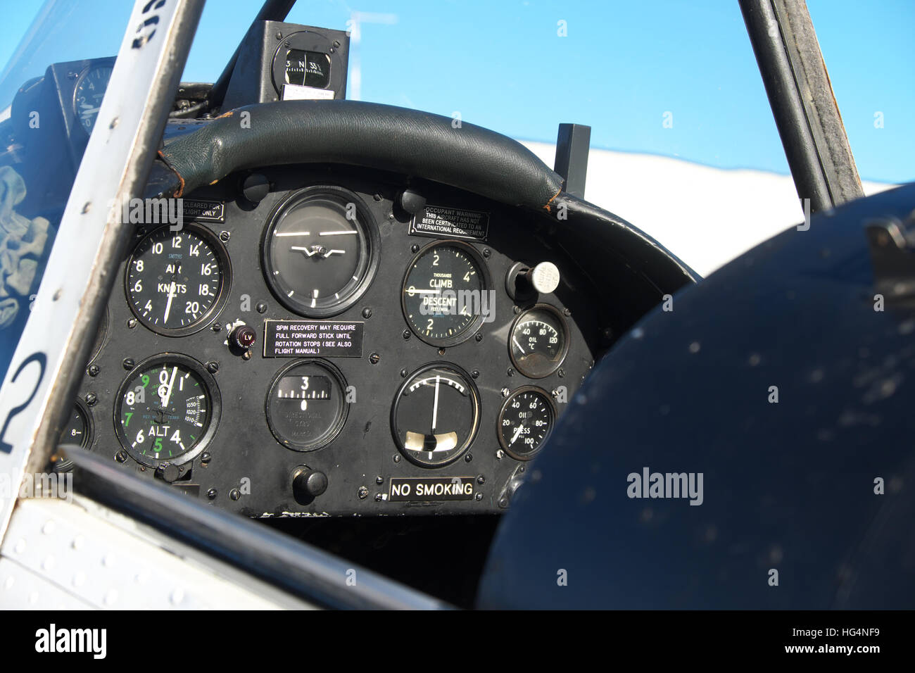 Cockpit of a DHC 1 Chipmunk basic trainer aircraft built in the 1950s and used by the RAF until the 1980s - Stock Image