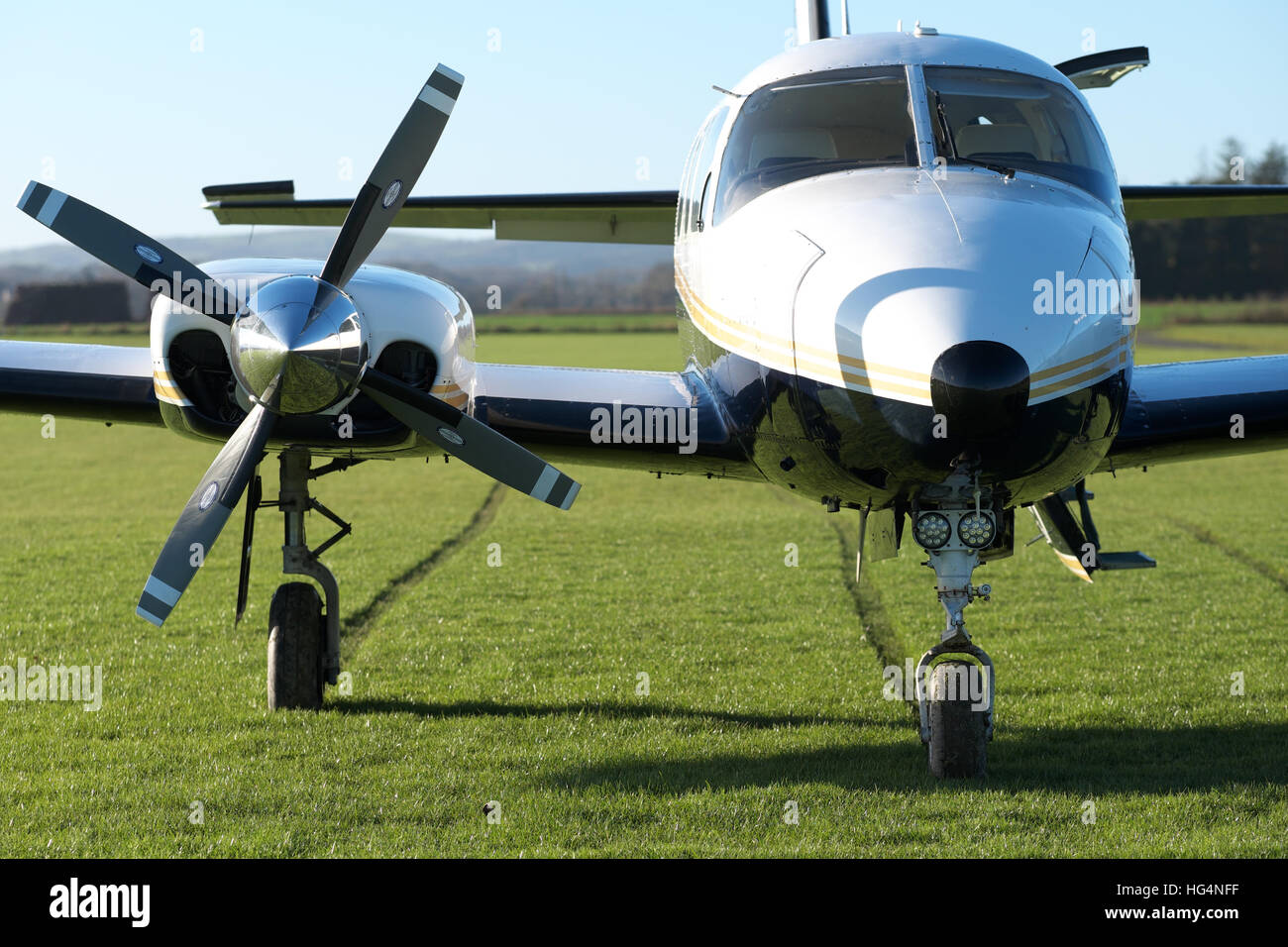 Piper Pa-31 Navajo executive aircraft twin engine propeller airplane built in 1979 - Stock Image
