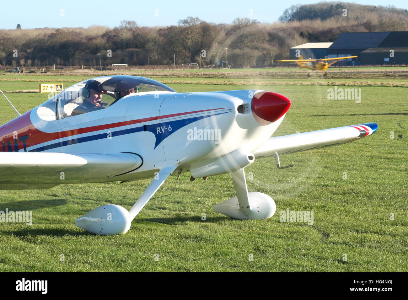 Vans RV-6 kit built light aircraft taxying out for departure at Shobdon airfield in the UK - Stock Image