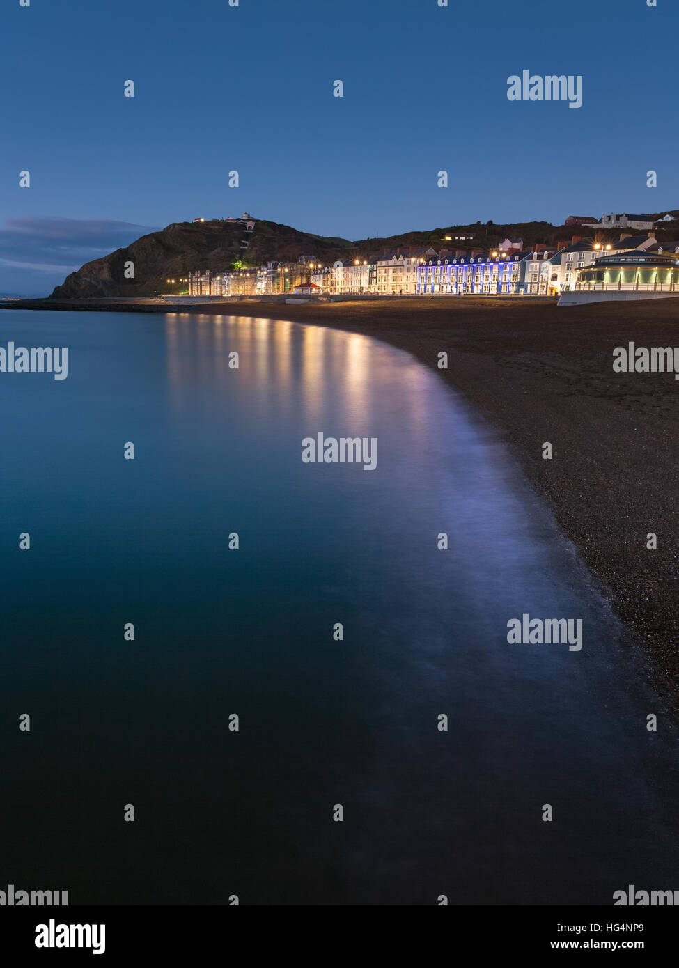 Aberystwyth promenade buildings in early evening, Ceredigion, Wales, UK - Stock Image