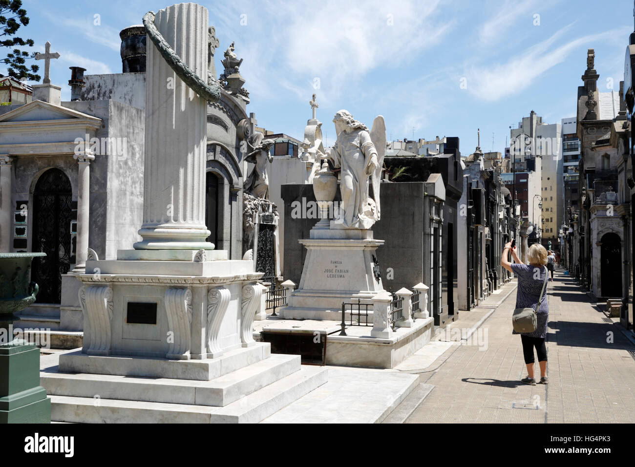Family mausoleums in the Cementerio de la Recoleta, Buenos Aires, Argentina, South America - Stock Image
