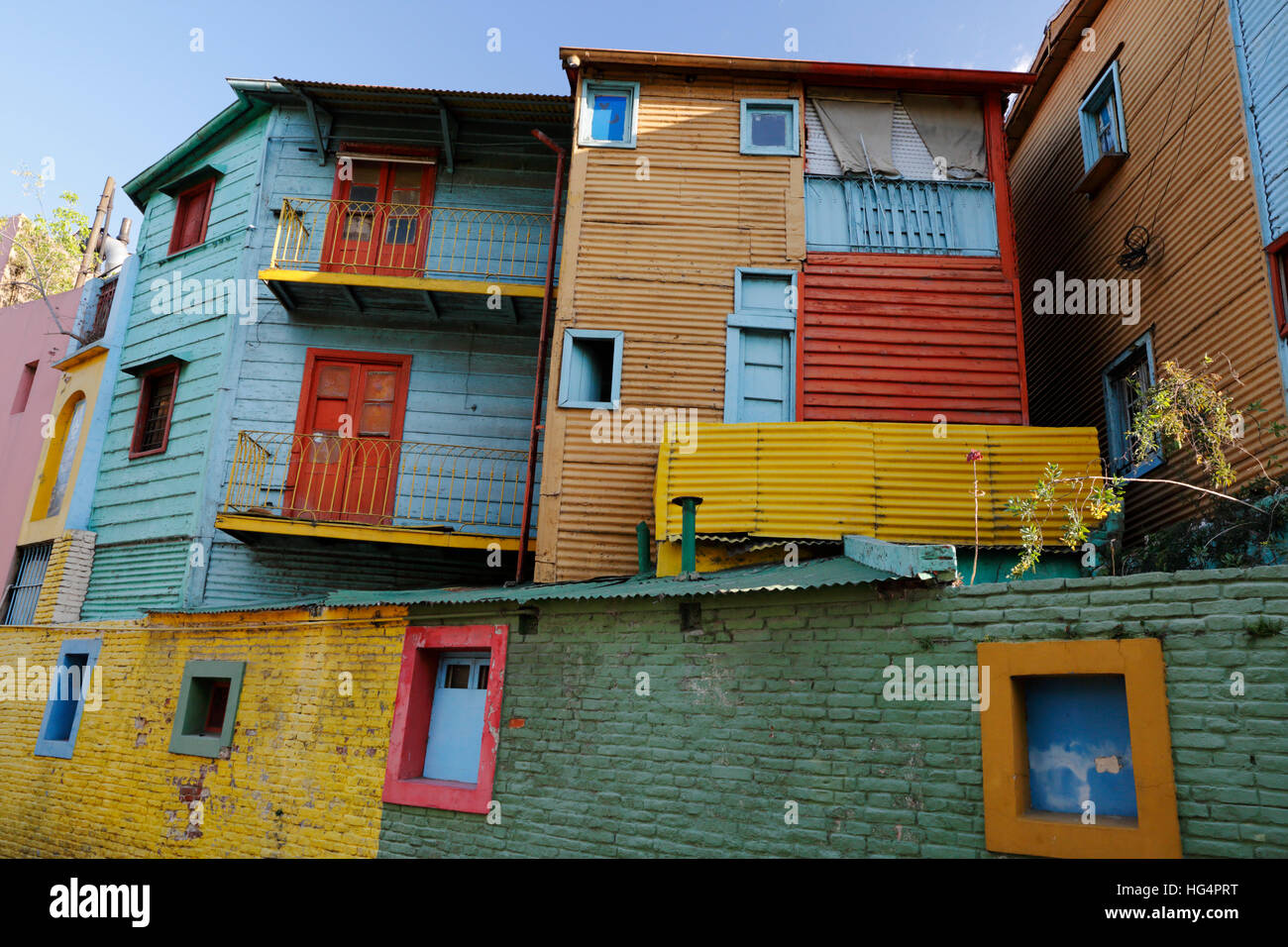 Brightly painted houses along El Caminito street in La Boca district, Buenos Aires, Argentina, South America - Stock Image