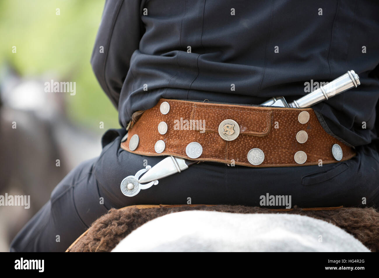 Gaucho knife and belt at gaucho parade on the Day of Tradition, San Antonio de Areco, La Pampa, Argentina, South - Stock Image