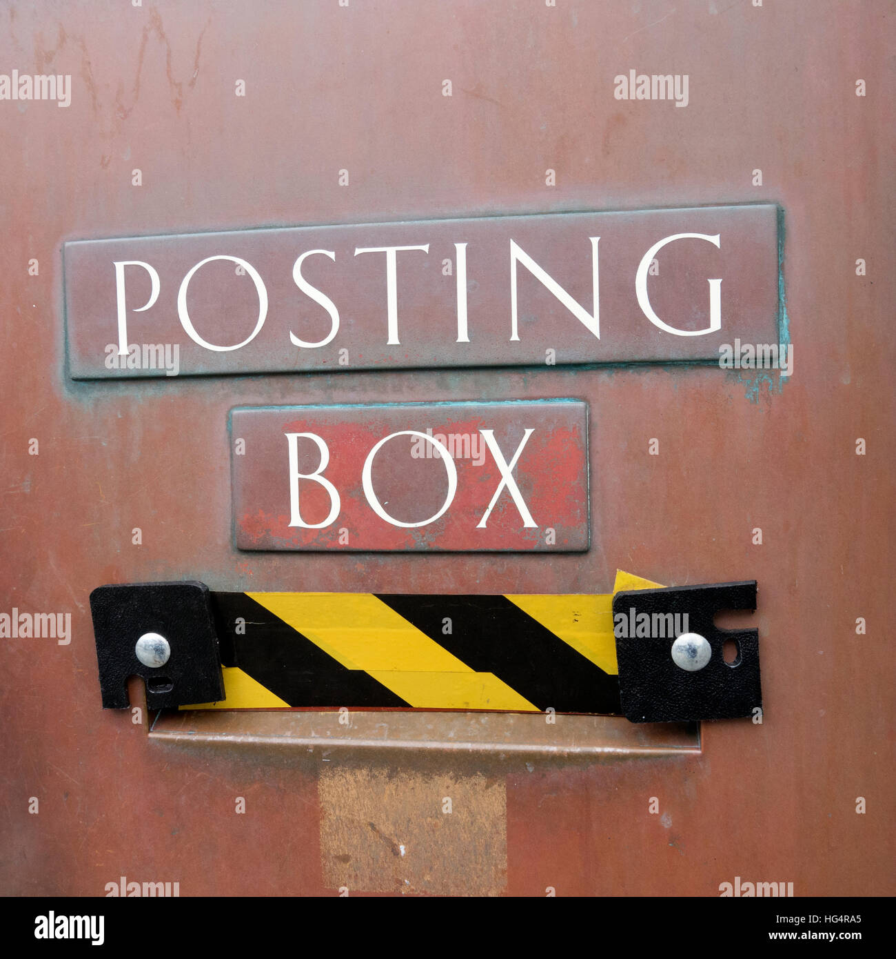 Penzance closed Post Office posting box after moving to WH Smiths, Cornwall England UK. - Stock Image