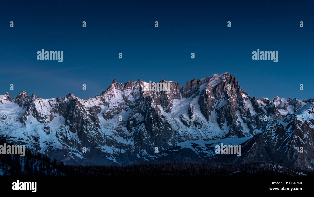 Blue Hour on Monte Bianco mountains - Stock Image