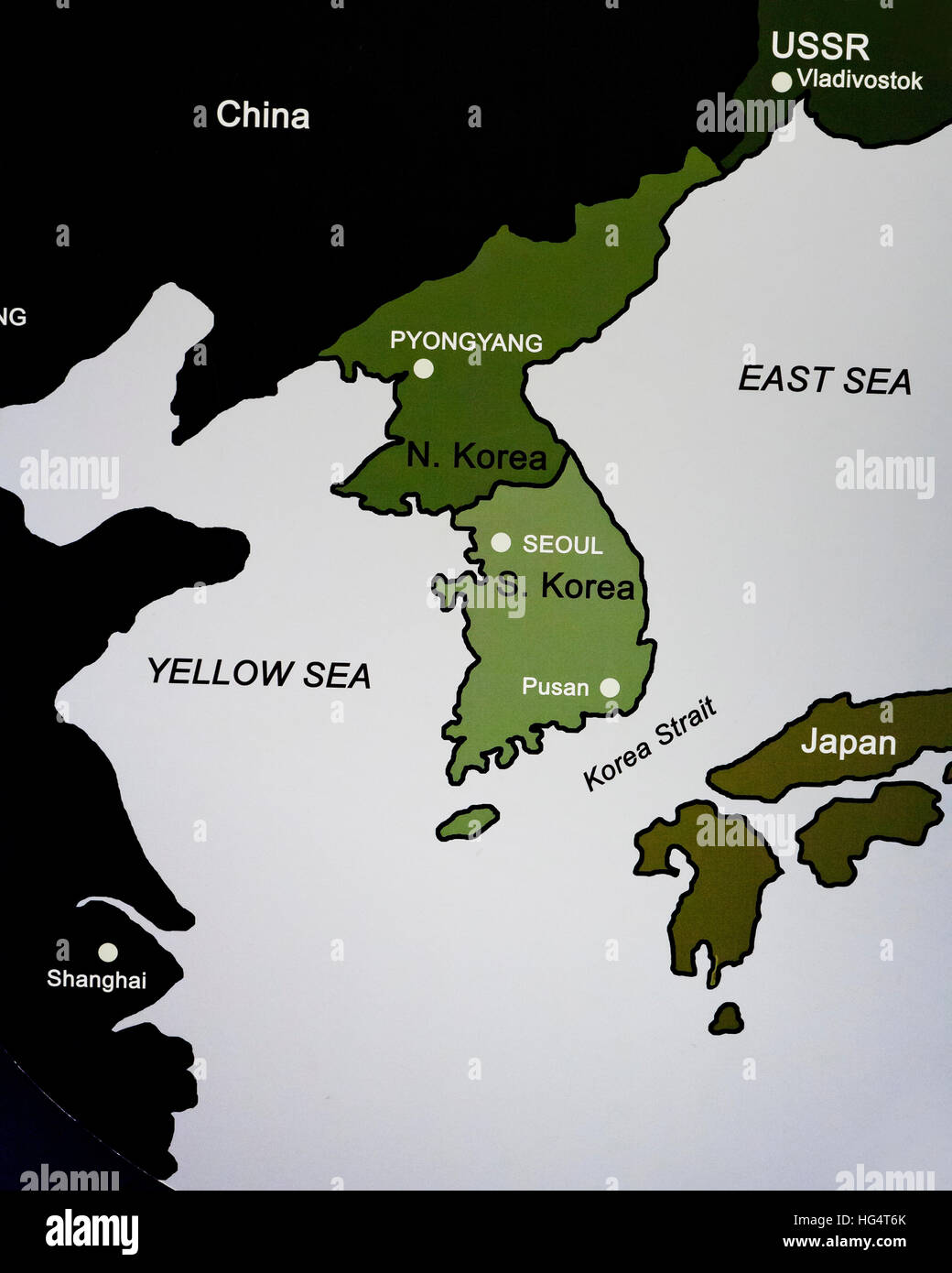 Map of the Korean peninsula showing North/South division - Stock Image
