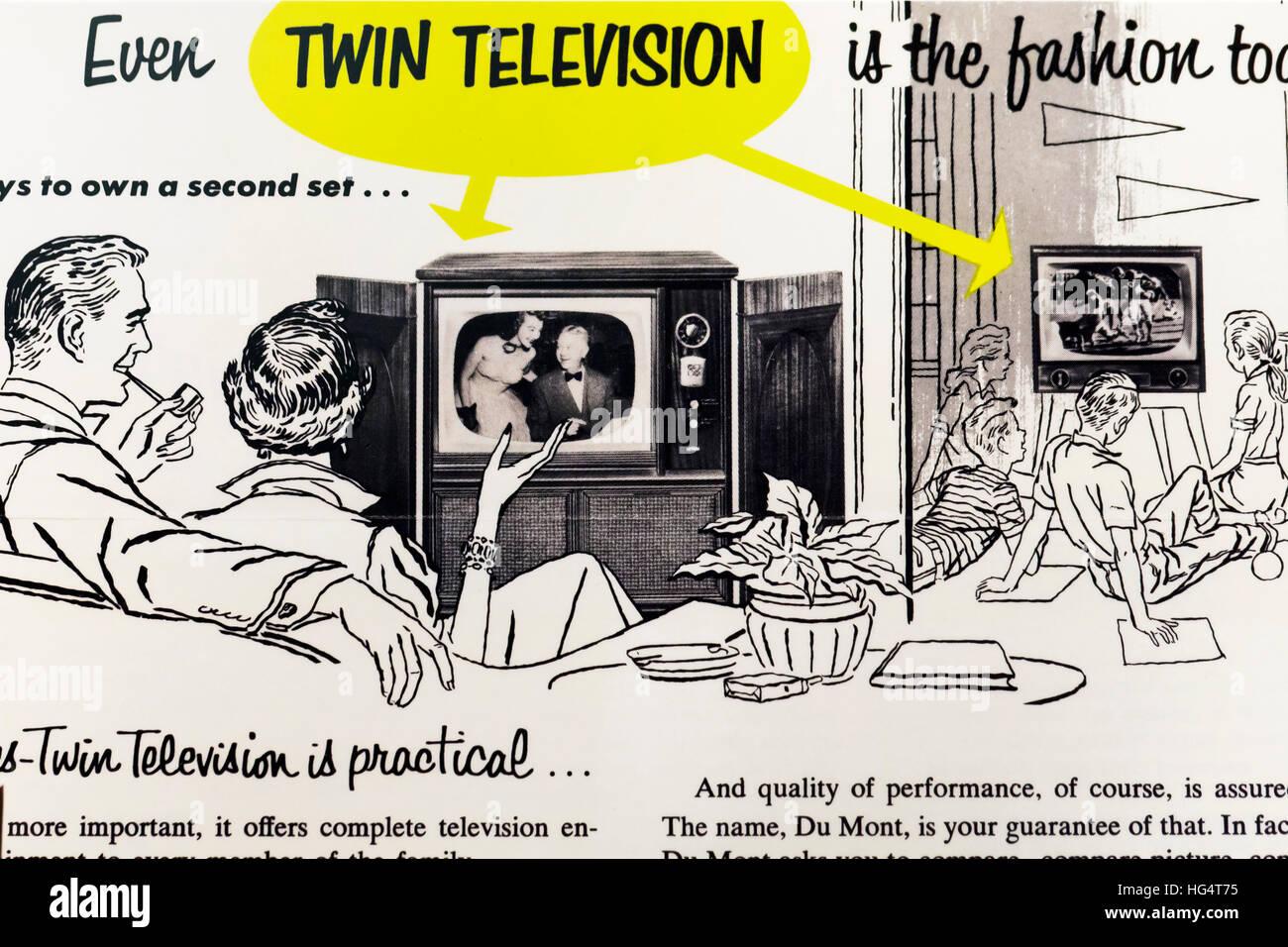 Vintage print ad of TV sets, circa 1950s - USA - Stock Image