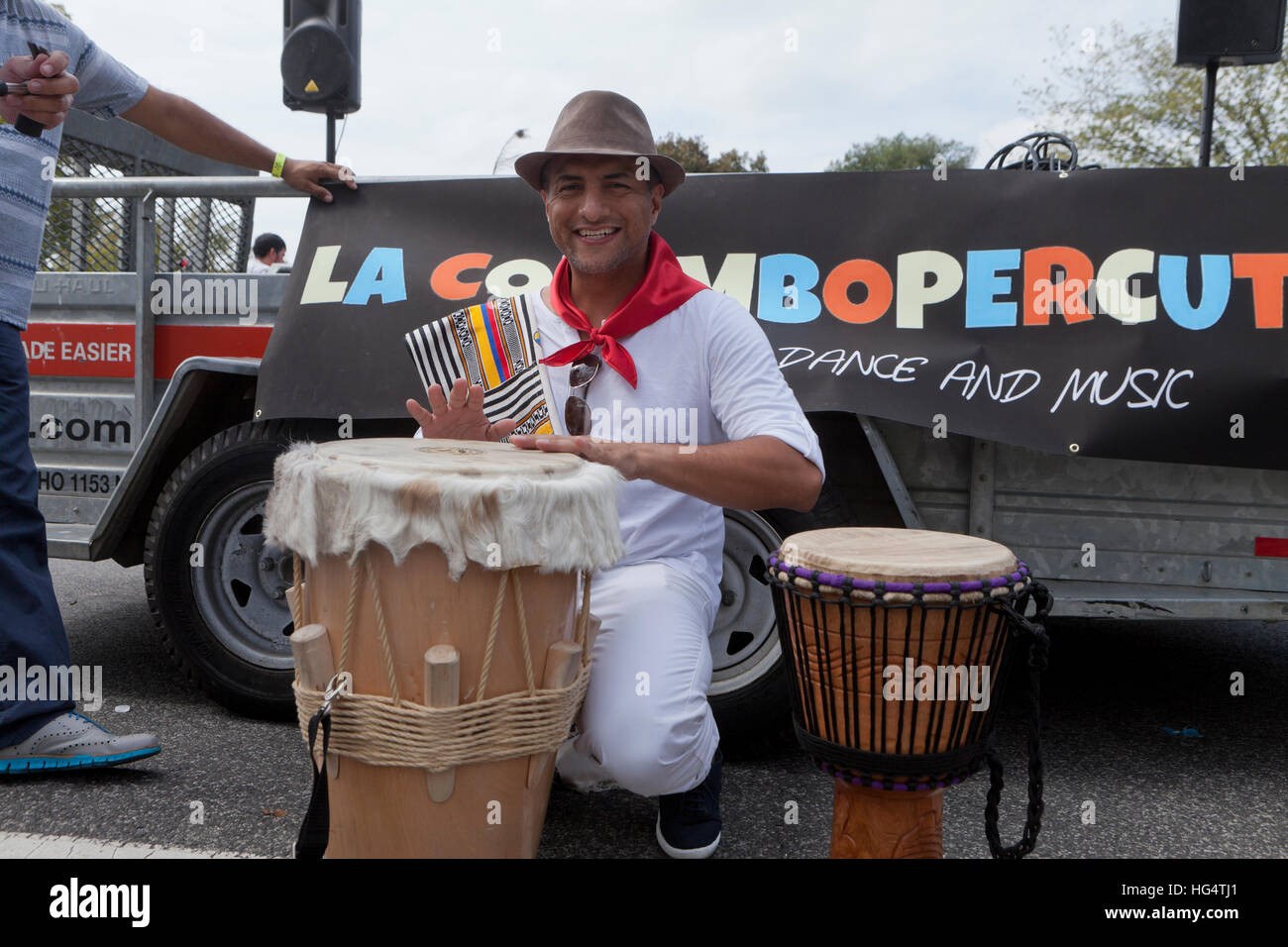 Argentinian musician playing hand crafted bata drums during Latin festival - Washington, DC USA - Stock Image