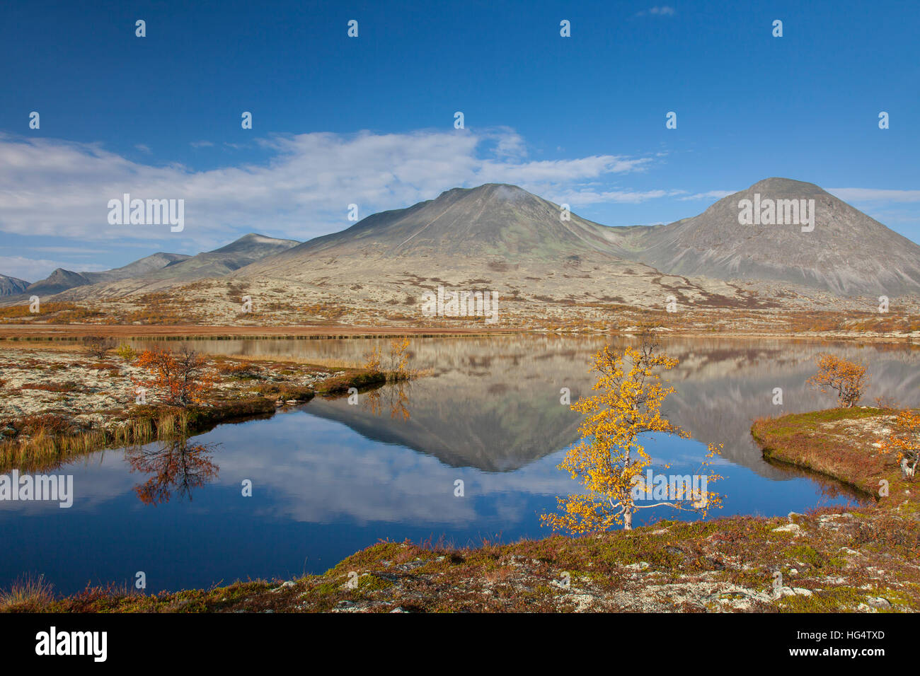 Lake in front of the mountain Stygghoin in autumn, Døråldalen in Rondane National Park, Oppland, Norway - Stock Image