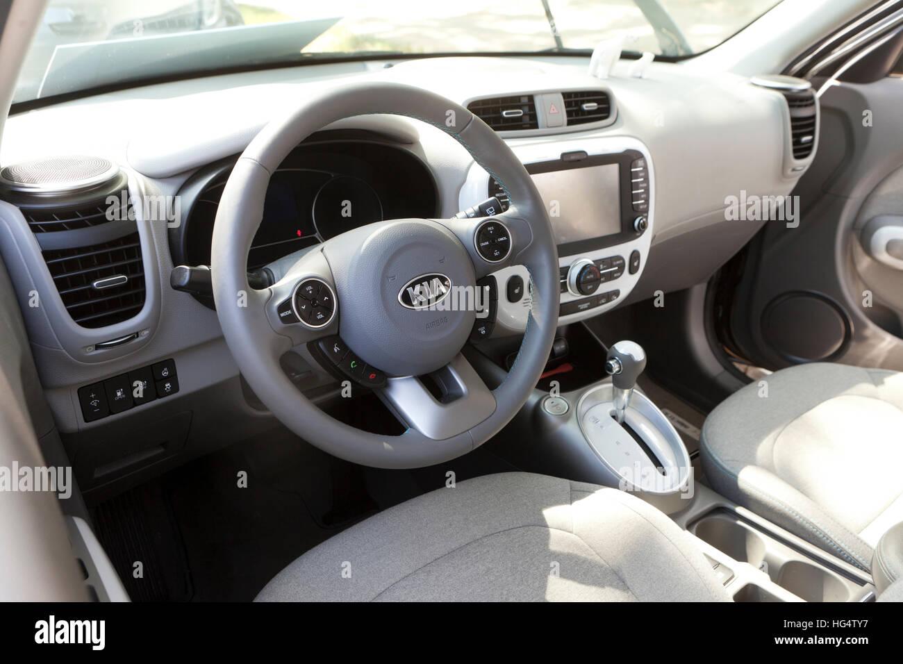 2016 Kia Soul electric vehicle interior - USA - Stock Image