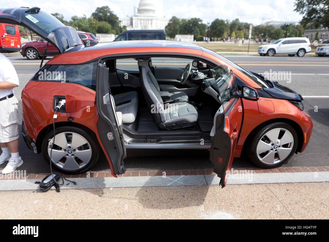 Bmw I3 Electric Vehicle With Side Doors Open Usa Stock Photo