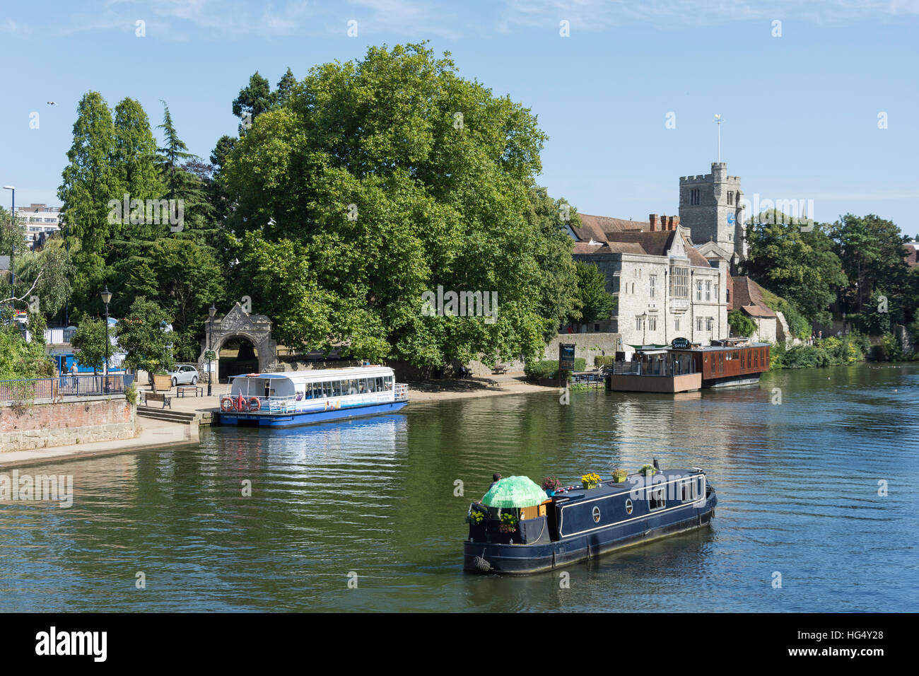 Riverside showing The Archbishop's Palace, River Medway, Maidstone, Kent, England, United Kingdom - Stock Image