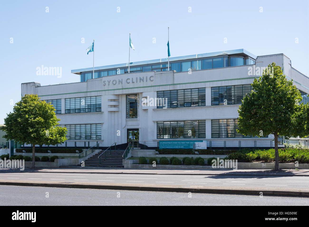 Art Deco Syon Clinic building, Great West Road, Brentford, London Borough of Hounslow, Greater London, England, - Stock Image