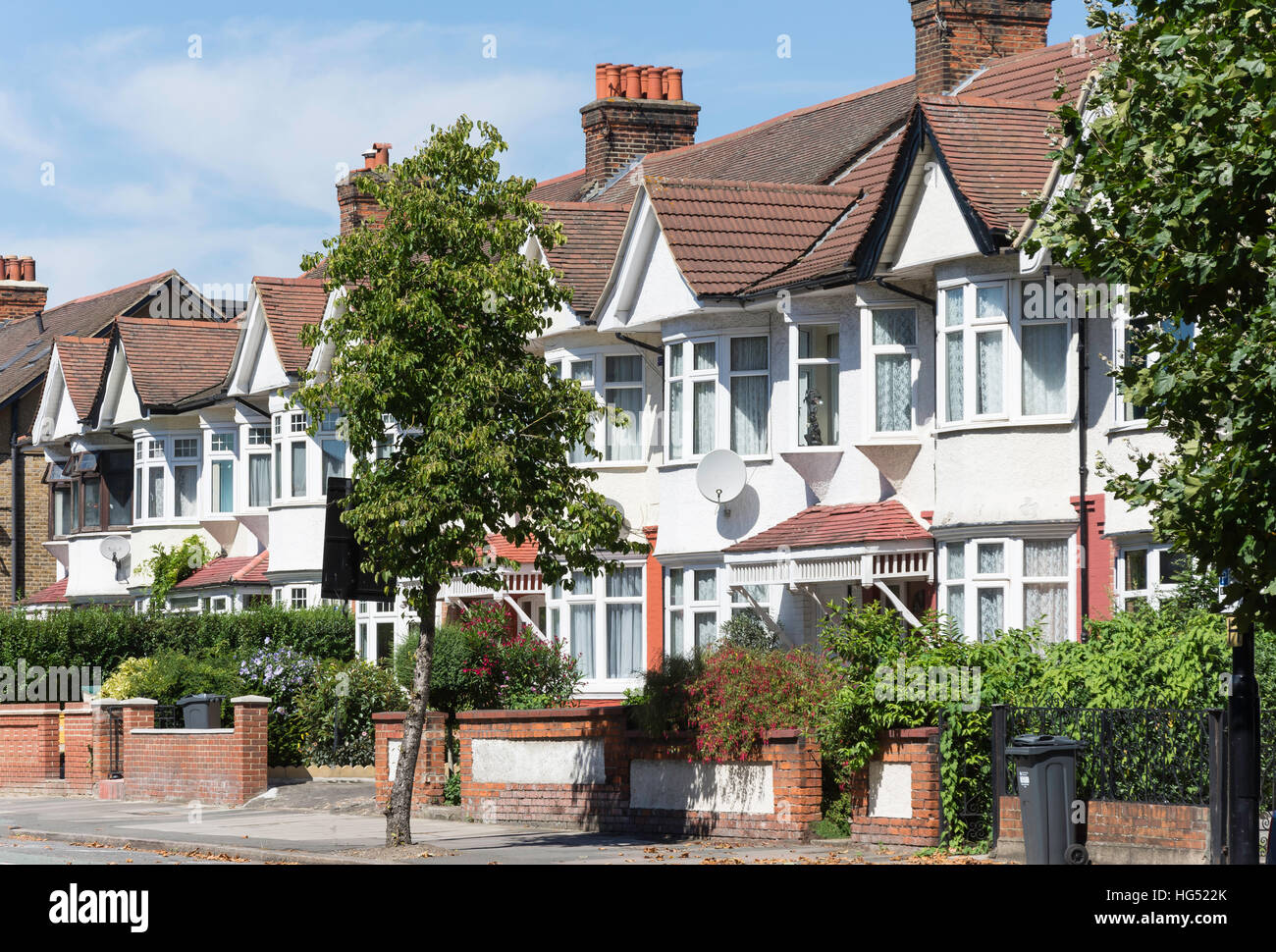 Residential houses on Boston Manor Road, Brentford, London Borough of Hounslow, Greater London, England, United Stock Photo