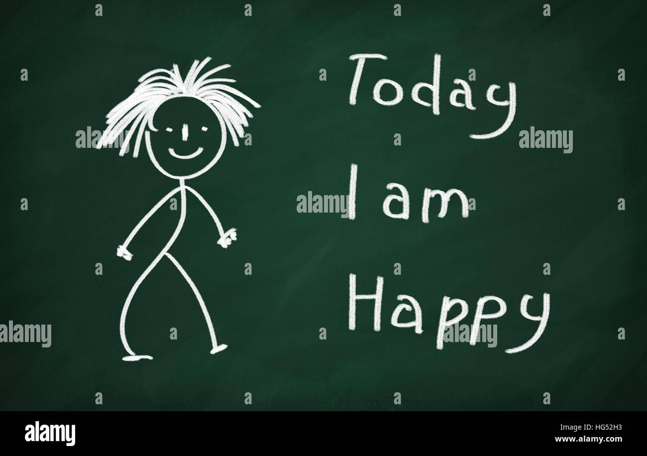 On the blackboard draw character and write Today I am happy Stock